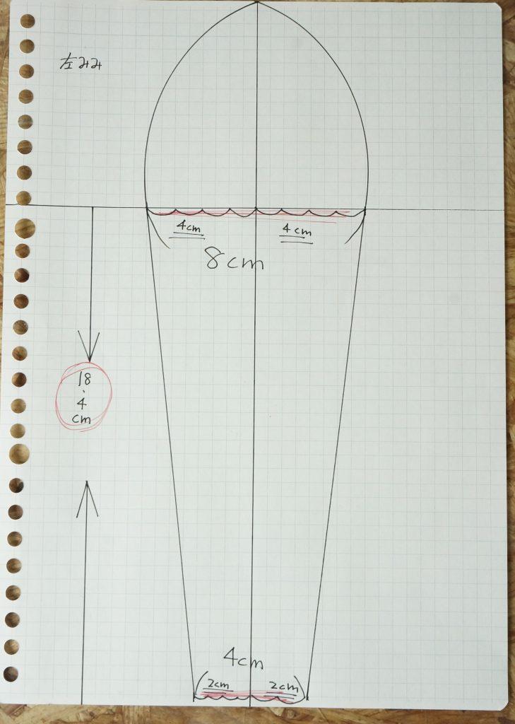 キュアホイップのうさ耳の型紙の設計図
