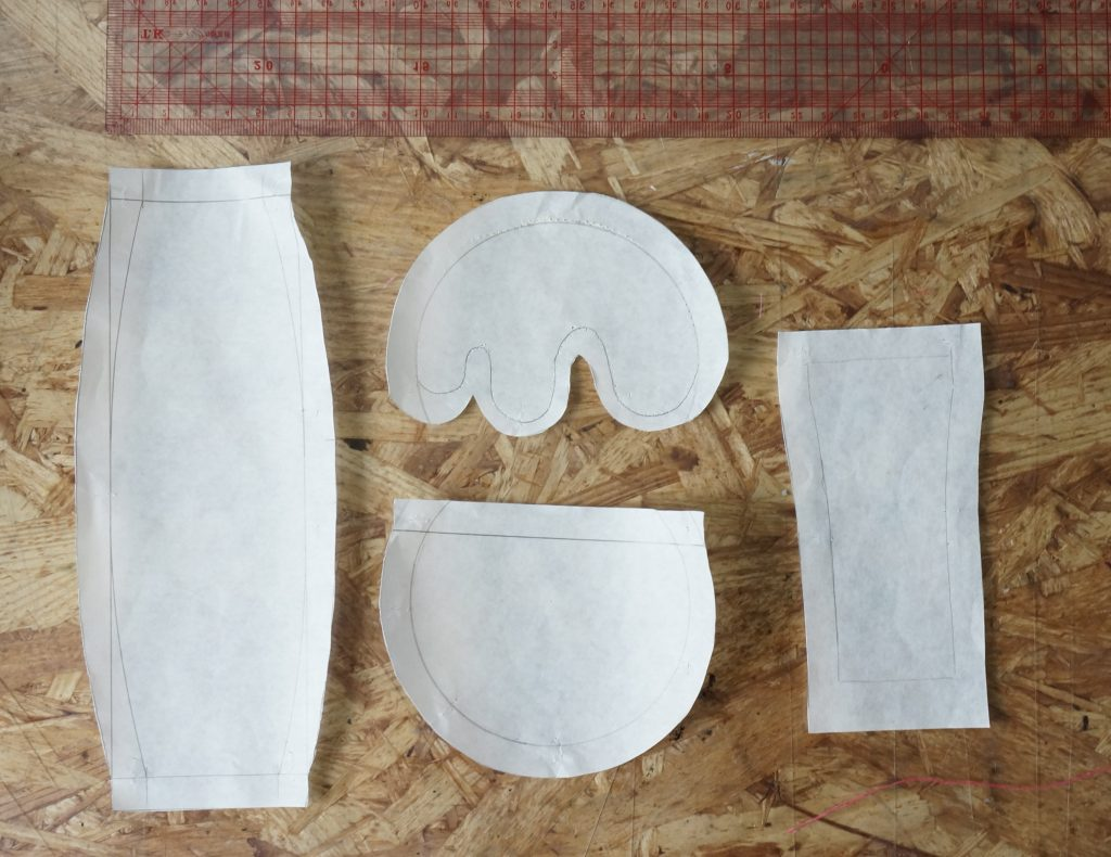 通常サイズのスイーツパクトのポーチの型紙