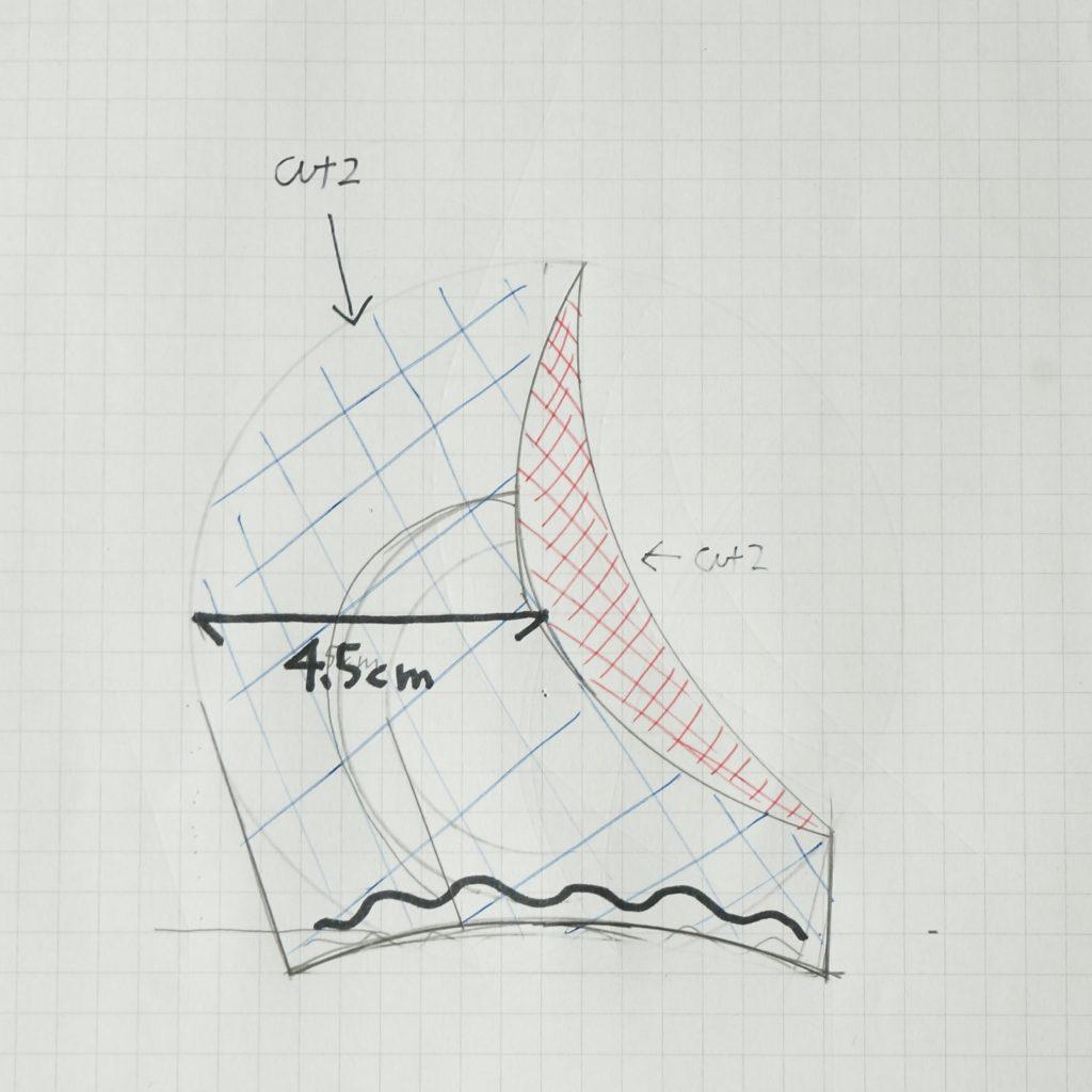 キュアカスタードのリス耳の型紙の元(設計図)