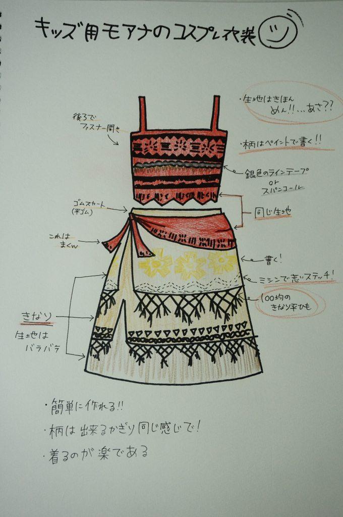 子供用のモアナのコスプレ衣装のデザイン画