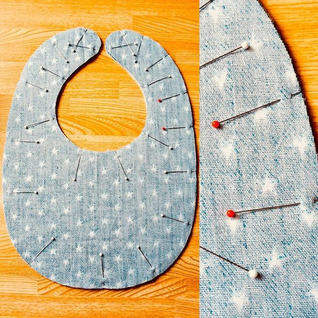 スタイ縫製前のピン打ち画像