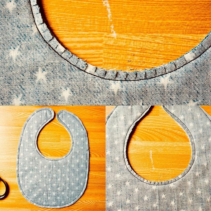 スタイ縫製後カーブに切込み