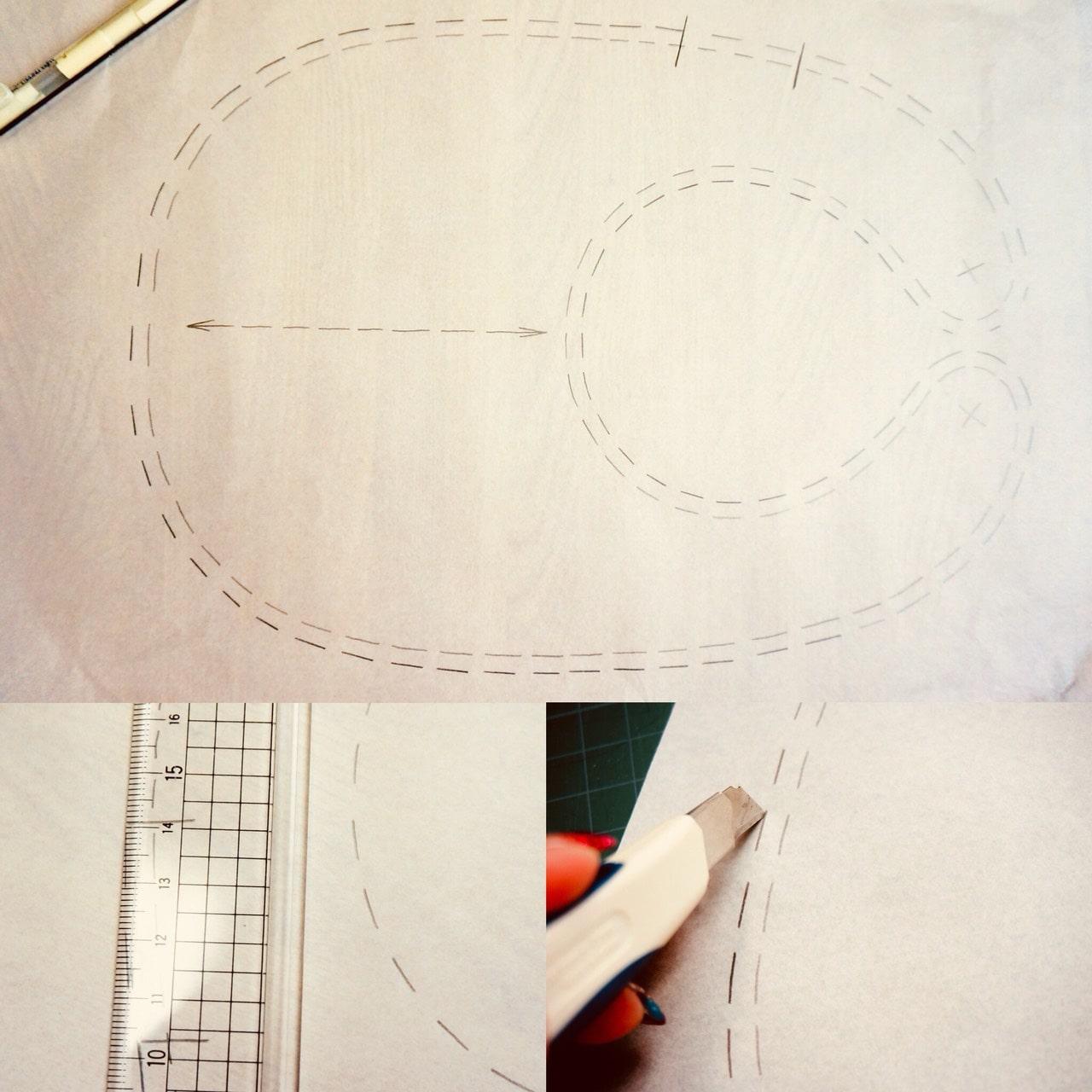 型紙写し縫い代付けからカット